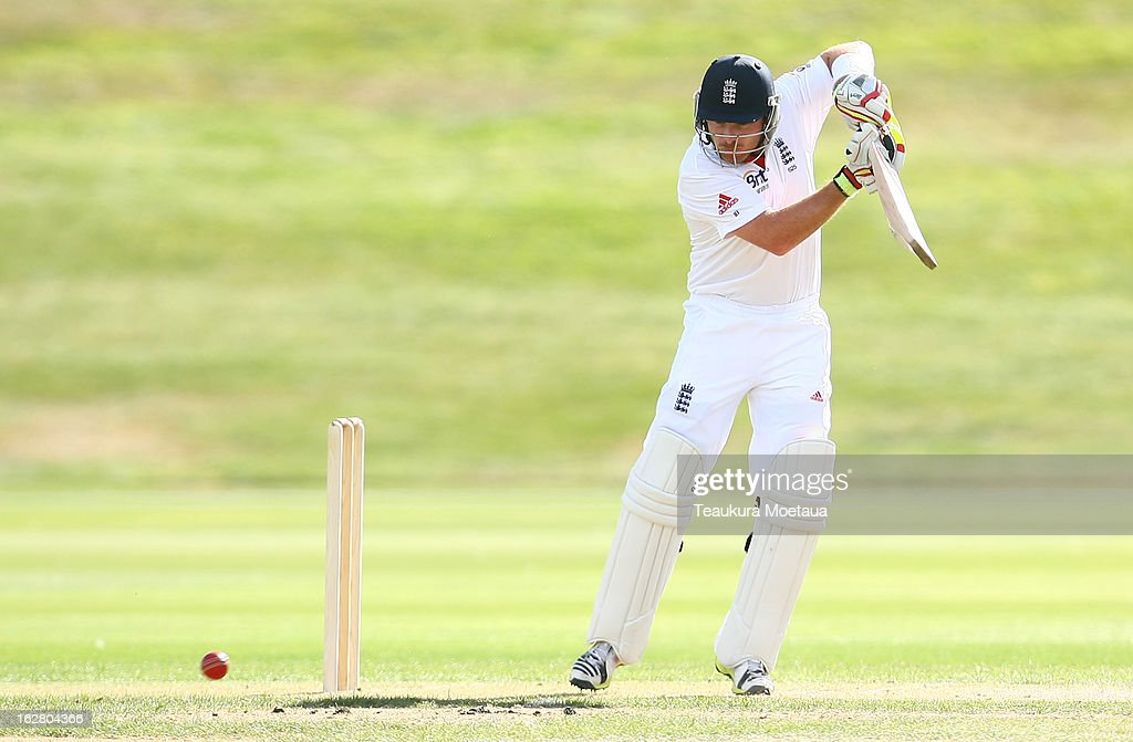 Ian Bell of England plays to the offside during day two of the International tour match between the New Zealand XI and England at Queenstown Events Centre on February 28, 2013 in Queenstown, New Zealand.