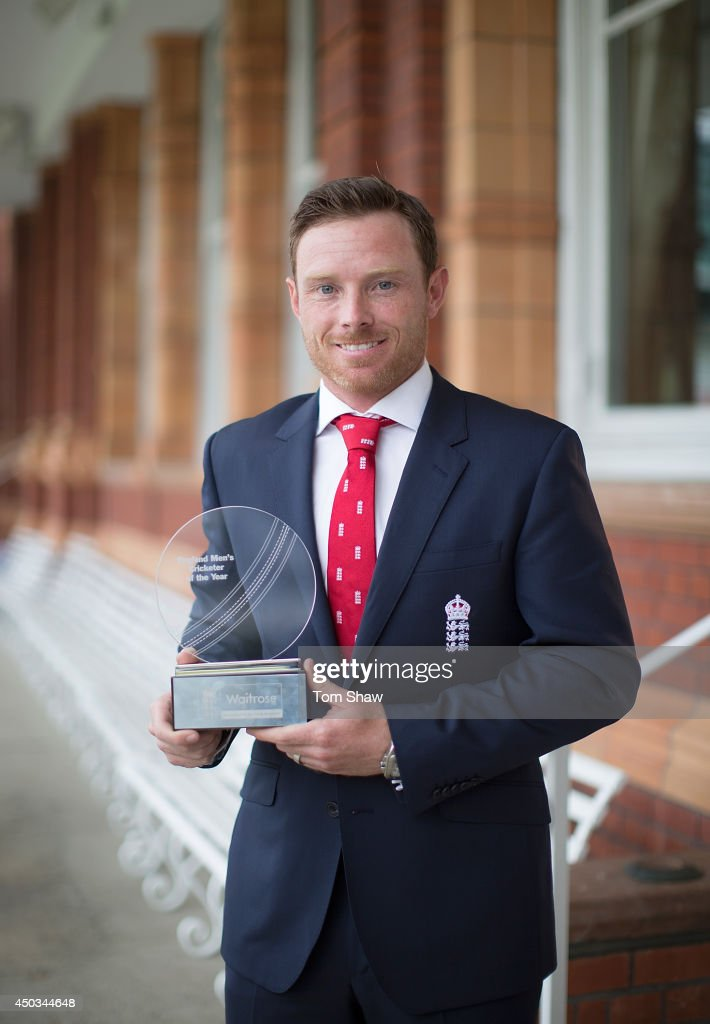 <a gi-track='captionPersonalityLinkClicked' href=/galleries/search?phrase=Ian+Bell&family=editorial&specificpeople=206128 ng-click='$event.stopPropagation()'>Ian Bell</a> of England poses with the Mens Cricketer of the Year Award during the England Cricketer of the Year Award at Lord's Cricket Ground on June 9, 2014 in London, England.