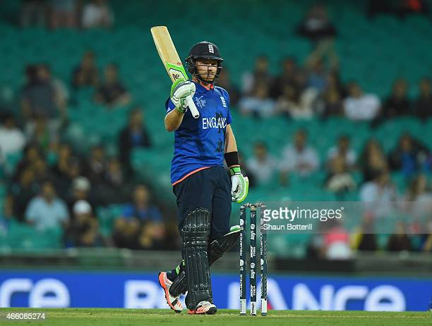Ian Bell of England reaches his 50 during the 2015 Cricket World Cup match between England and Afghanistan at Sydney Cricket Ground on March 13 2015...