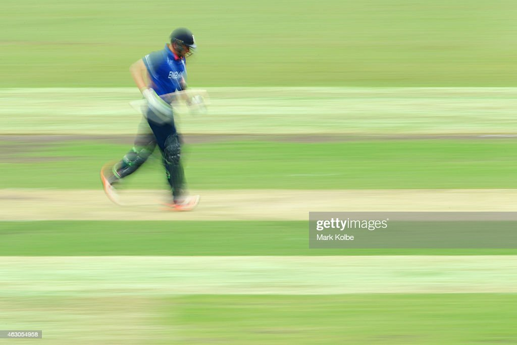 Ian Bell of England runs between wickets during the ICC Cricket World Cup warm up match between England and the West Indies at Sydney Cricket Ground on February 9, 2015 in Sydney, Australia.