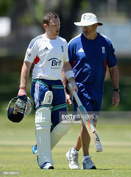 Ian Bell of England speaks to batting coach Graham Gooch during a nets session at Floreat Oval on October 29 2013 in Perth Australia