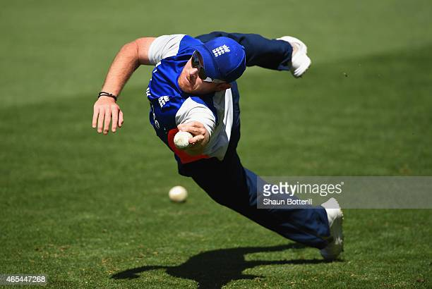 Ian Bell of England takes a catch during an England nets session at Adelaide Oval on March 7 2015 in Adelaide Australia