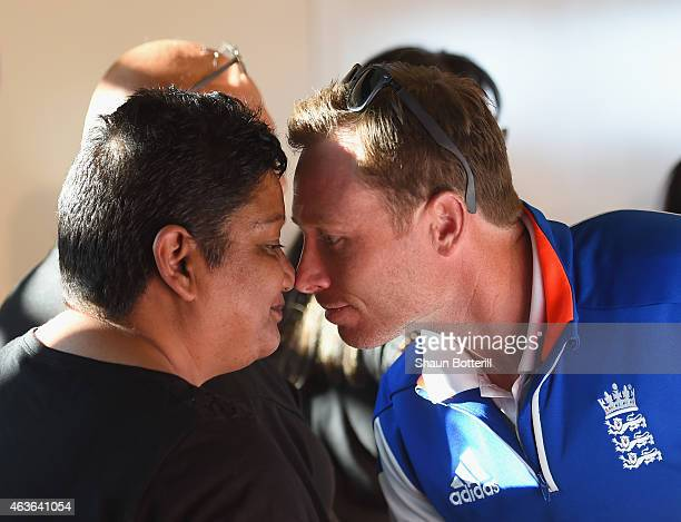 Ian Bell of England takes part in an official Maori welcome on February 17 2015 in Wellington New Zealand