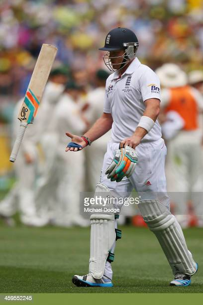 Ian Bell of England throws his bat in the air after being dismissed by Nathan Lyon of England during day three of the Fourth Ashes Test Match between...