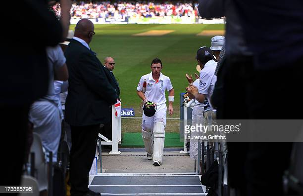 Ian Bell of England walks back to the pavilion after scoring 109 runs during day four of 1st Investec Ashes Test match between England and Australia...