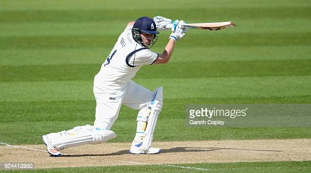 Ian Bell of Warwickshire bats during day three of the Specsavers County Championship Division One match between Warwickshire and Yorkshire at...