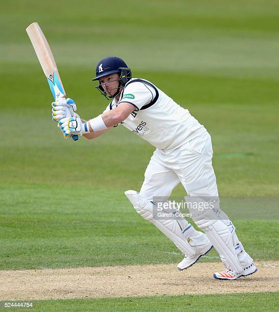 Ian Bell of Warwickshire bats watched by Yorkshire wicketkeeper Jonathan Bairstow during day three of the Specsavers County Championship Division One...