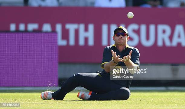 Ian Bell of Warwickshire catches out Ashar Zaidi of Essex during the Royal London OneDay Cup quarter final match between Warwickshire and Essex at...