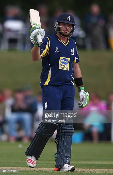 Ian Bell of warwickshire celebrates his half century during the Royal London OneDay Cup match between Nottinghamshire and Warwickshire at Welbeck...