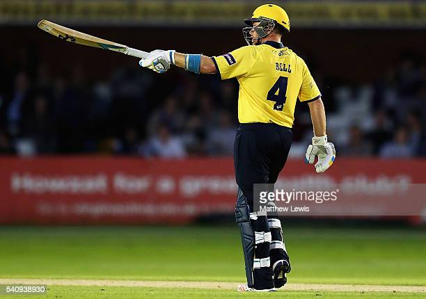 Ian Bell of Warwickshire celebrates his half century during the NatWest T20 Blast match between Derbyshire and Warwickshire at The 3aaa County Ground...