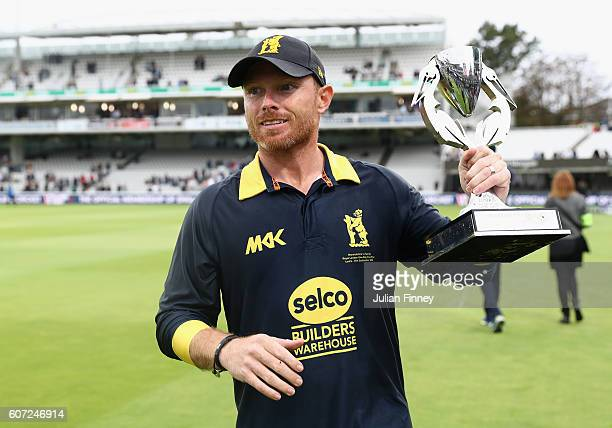 Ian Bell of Warwickshire celebrates their win during the Royal London oneday cup final between Warwickshire and Surrey at Lord's Cricket Ground on...