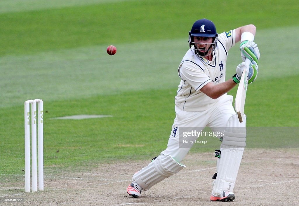 Ian Bell of Warwickshire drives during the LV County Championship match between Somerset and Warwickshire at the County Ground on September 23 2015...