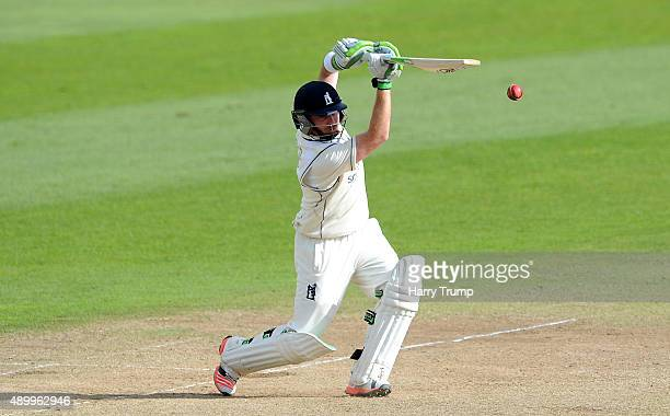 Ian Bell of Warwickshire drives during the LV County Championship match between Somerset and Warwickshire at the County Ground on September 25 2015...