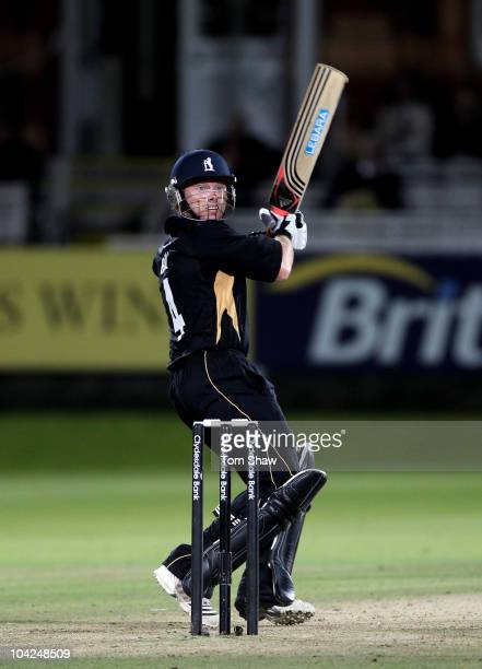Ian Bell of Warwickshire hits out during the Clydesdale Bank 40 Final match between Somerset and Warwickshire at Lord's Cricket Ground on September...