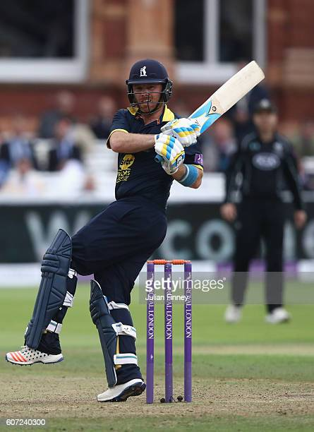 Ian Bell of Warwickshire hits out during the Royal London oneday cup final between Warwickshire and Surrey at Lord's Cricket Ground on September 17...