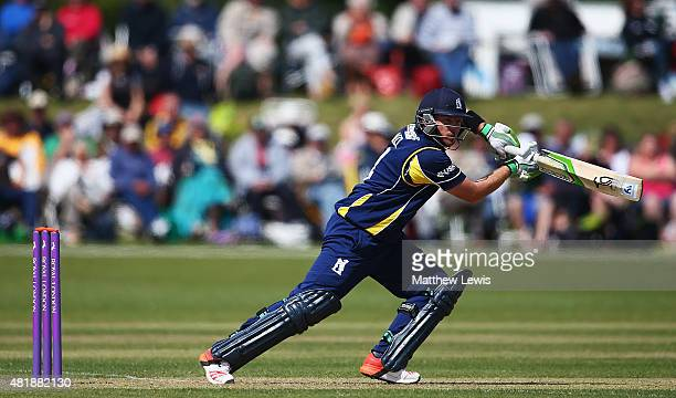 Ian Bell of Warwickshire hits the ball towards the boundary during the Royal London OneDay Cup match between Nottinghamshire and Warwickshire at...