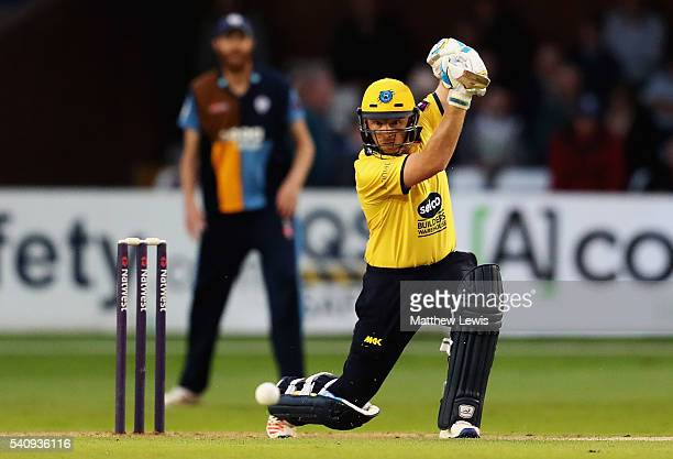 Ian Bell of Warwickshire hits the ball towards the boundary during the NatWest T20 Blast match between Derbyshire and Warwickshire at The 3aaa County...
