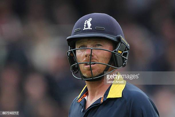 Ian Bell of Warwickshire leaves the field after being dismissed during the Royal London OneDay Cup Final match between Surrey and Warwickshire at...