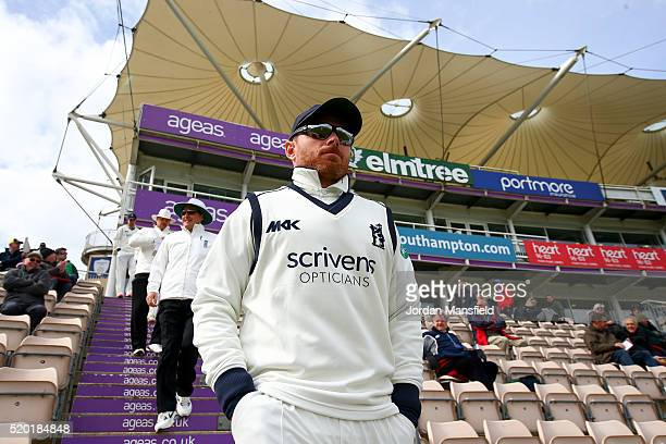 Ian Bell of Warwickshire makes his way onto the pitch ahead of the start of day one of the Specsavers County Championship Division One match between...