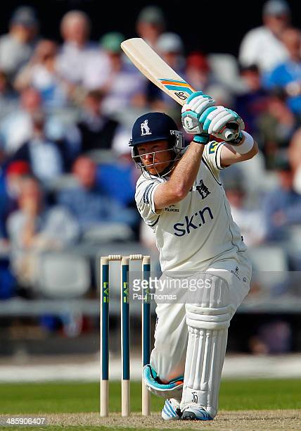Ian Bell of Warwickshire plays a shot during the LV County Championship match between Lancashire and Warwickshire at Old Trafford on April 21 2014 in...