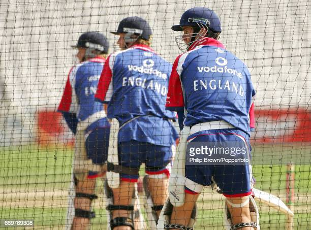 Ian Bell Paul Collingwood and Michael Vaughan line up in the nets before the 5th Ashes cricket Test match between England and Australia at the Oval...