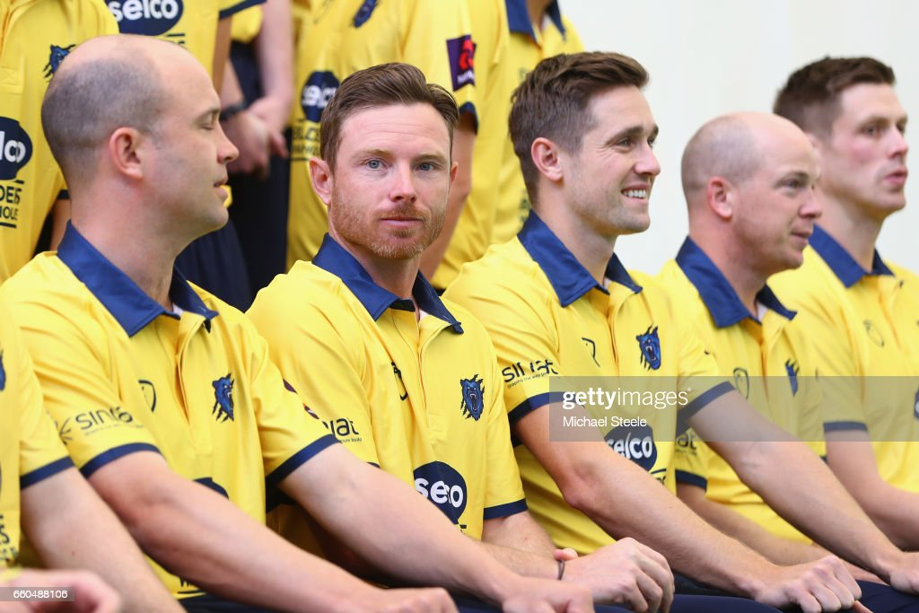 Ian Bell (2R) the captain of Warwickshire alongside Jonathan Trott (L) and Chris Woakes (3R) in the Birmingham Bears NatWest T20 Blast kit during the Warwickshire County Cricket photocall at Edgbaston on March 30, 2017 in Birmingham, England.