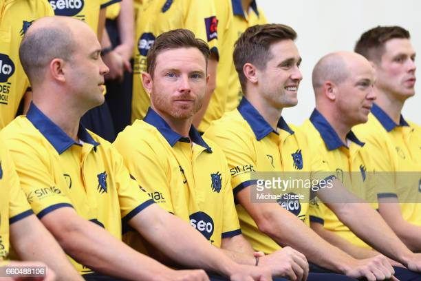 Ian Bell the captain of Warwickshire alongside Jonathan Trott and Chris Woakes in the Birmingham Bears NatWest T20 Blast kit during the Warwickshire...
