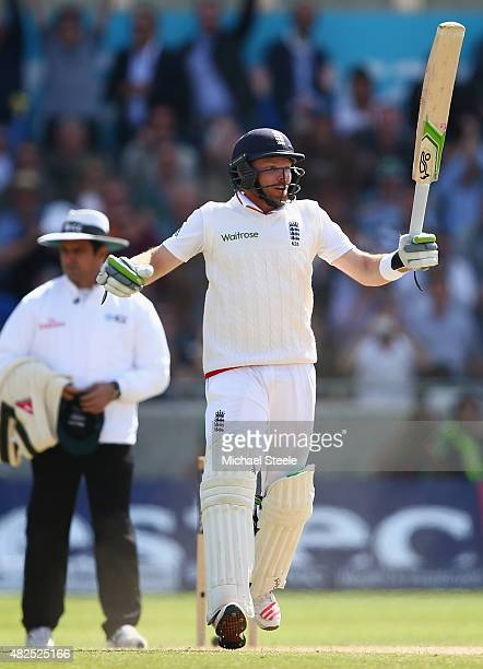 Ian Bell undefeated on 65 runs celebrates after Englands victory by 8 wickets during day three of the 3rd Investec Ashes Test match between England...