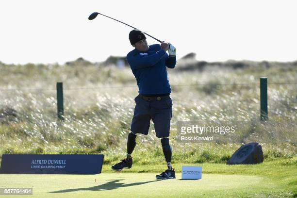 Ian Bishop tees off during day one of the 2017 Alfred Dunhill Championship at Carnoustie on October 5 2017 in St Andrews Scotland