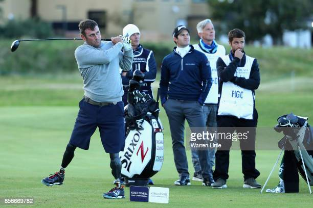 Ian Bishop tees off on the 18th during day three of the 2017 Alfred Dunhill Championship at The Old Course on October 7 2017 in St Andrews Scotland