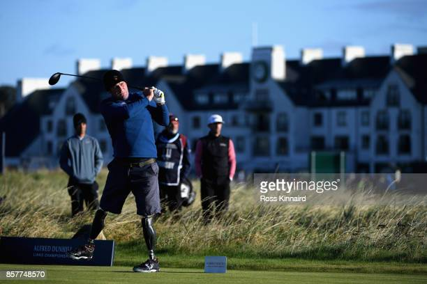 Ian Bishop tees off on the 2nd during day one of the 2017 Alfred Dunhill Championship at Carnoustie on October 5 2017 in St Andrews Scotland
