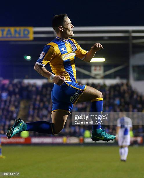Ian Black of Shrewsbury Town celebrates after he scores a penalty goal to make it 20 during the Sky Bet League One match between Shrewsbury Town and...