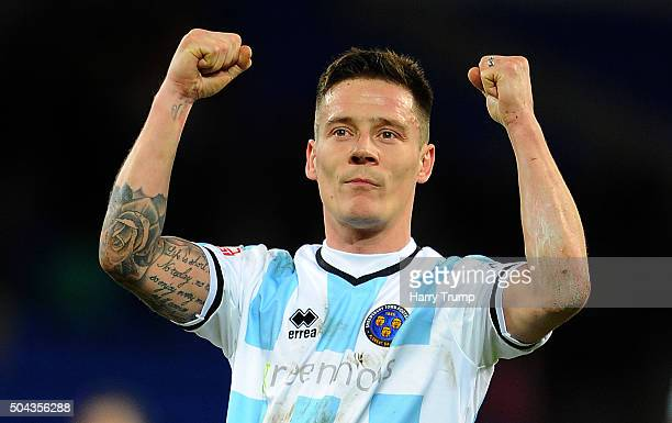 Ian Black of Shrewsbury Town celebrates his sides victory during The Emirates FA Cup Third Round match between Cardiff City and Shrewsbury Town at...