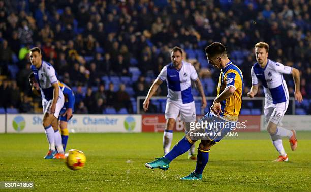 Ian Black of Shrewsbury Town scores a penalty goal to make it 20 during the Sky Bet League One match between Shrewsbury Town and Bristol Rovers at...