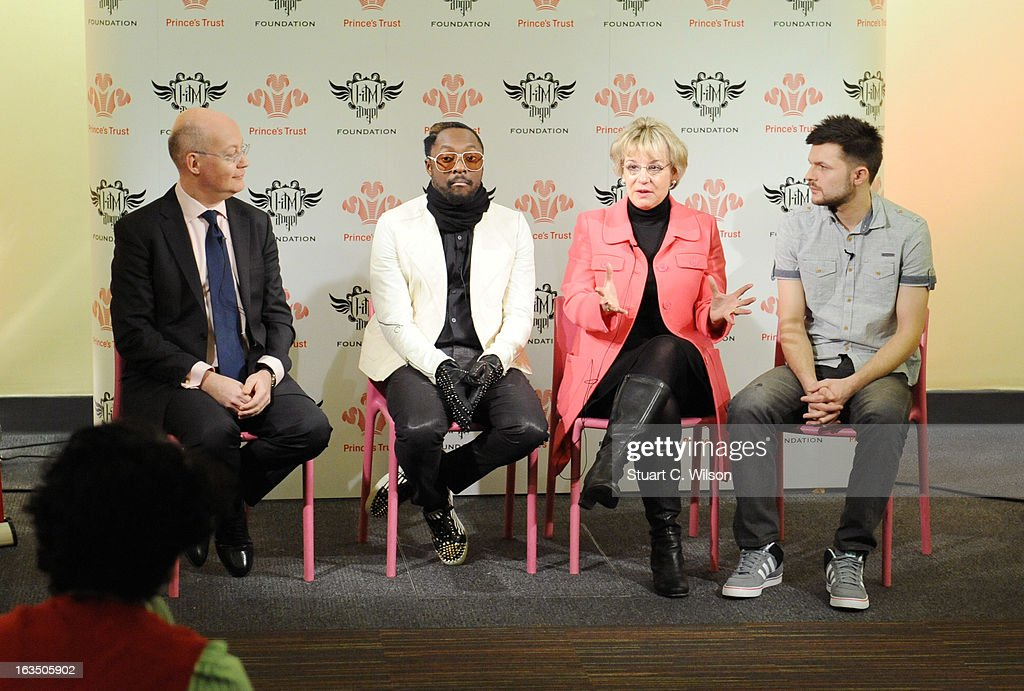 Ian Blatchford, Will.i.am, Martina Milburn and Dave Hartshorne attend a panel discussion at The Science Museum where Will.I.Am announced The Prince's Trust new STEM (Science, Technology, Engineering and Maths) workshops for teens at Science Museum on March 11, 2013 in London, England.