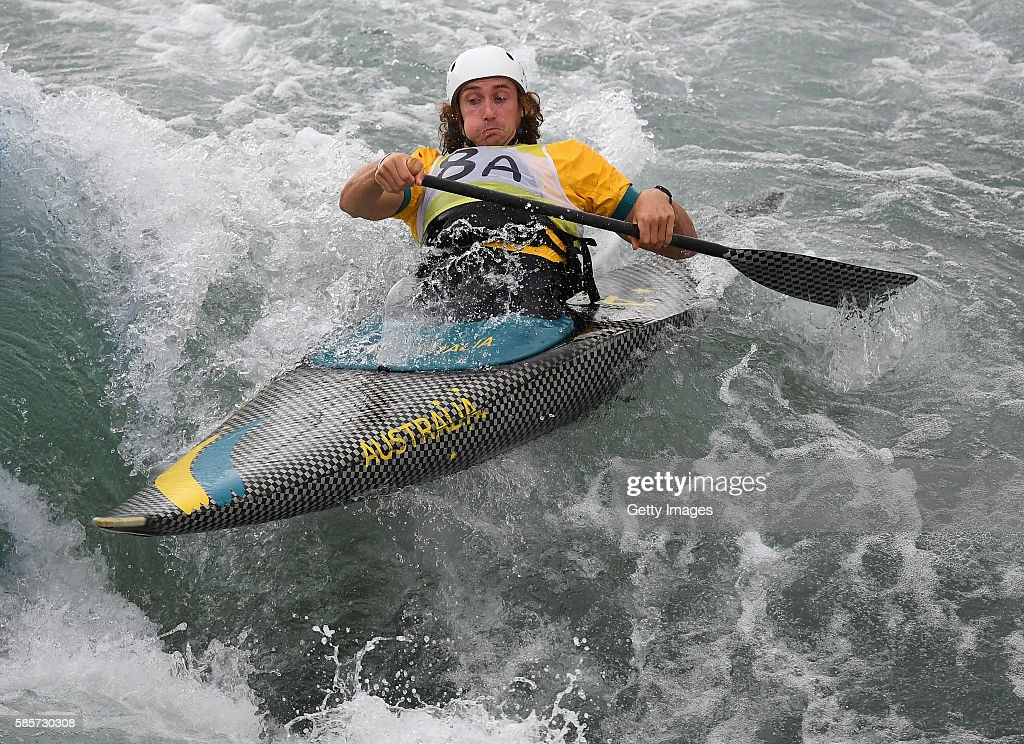 Ian Borrows of Australia trains in the C1 during a Canoe Slalom training session at Whitewater Stadium on August 3, 2016 in Rio de Janeiro, Brazil.