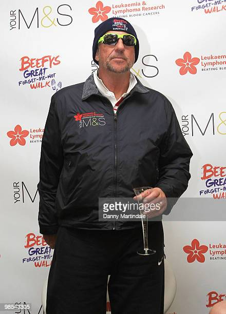 Ian Botham attends a photocall at end of Ian Botham's Beefy's Great ForgetMeNot walk in aid of Leukaemia Research on April 19 2010 in London England