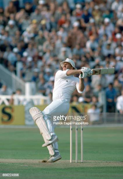 Ian Botham batting during his innings of 103 in the 4th Test match between England and New Zealand at Trent Bridge Nottingham 25th August 1983...