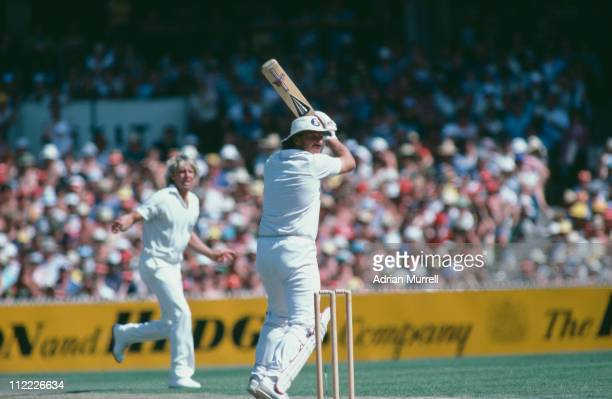 Ian Botham hits Jeff Thomson during the Ashes series in Melbourne January 1983