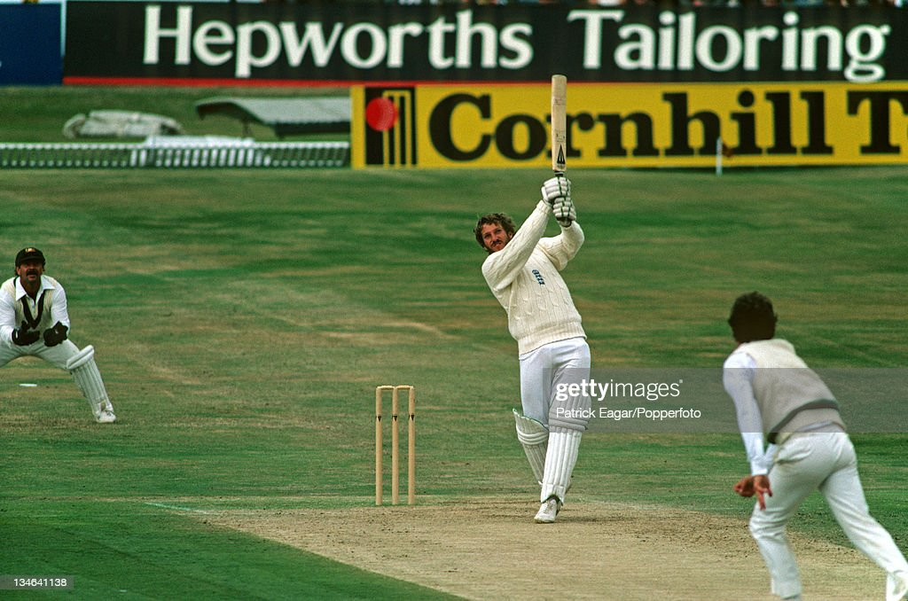 Ian Botham hits Terry Alderman for a boundary during his 149 England v Australia 3rd Test Headingley July 1981