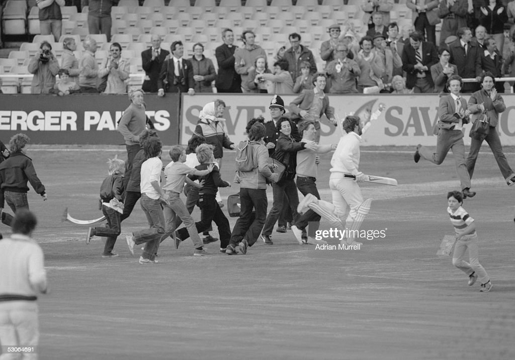 Ian Botham is mobbed by young fans as he runs off at the end of the third Test at Headingley 1981 He had scored 149 not out