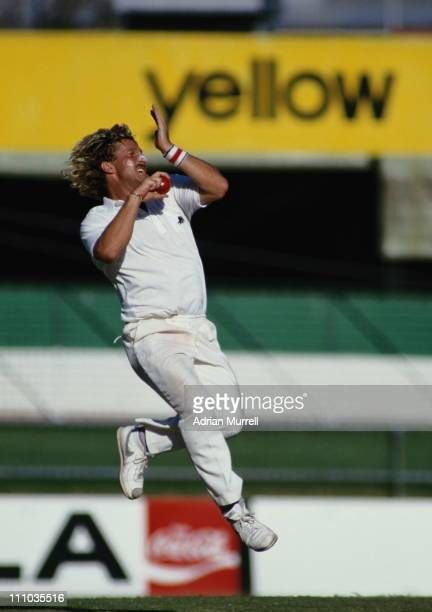 Ian Botham of England bowls against Australia during the First Test on 15th November 1986 at the Brisbane Cricket Ground Woolloongabba the Gabba in...