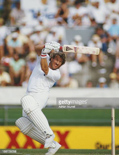 Ian Botham of England during his innings of 138 against Australia during the First Test on 15th November 1986 at the Brisbane Cricket Ground...
