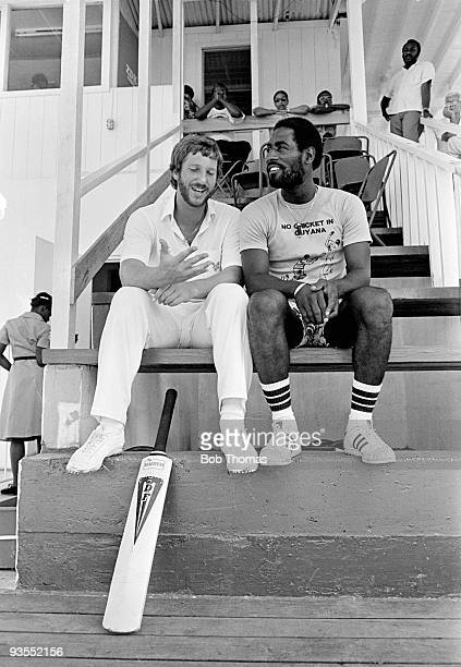 Ian Botham of England talks to Viv Richards of the West Indies in Antigua during the England Cricket Tour to the West Indies in March 1981