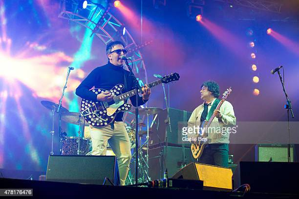 Ian Broudie and Martyn Campbell of The Lightning Seeds perform live at Seaclose Park on June 14 2015 in Newport United Kingdom