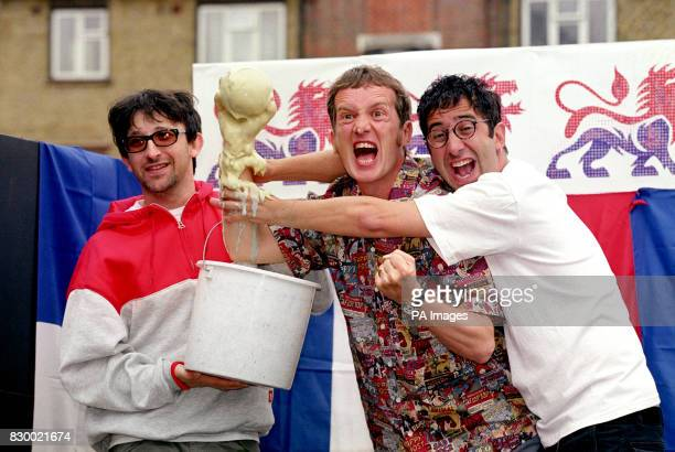 Ian Broudie from the Lightening Seeds comedians Frank Skinner and David Baddiel at a photocall announcing their new recorded version of the Three...