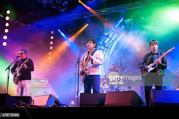 Ian Broudie Martyn Campbell and Riley Broudie of The Lightning Seeds perform live at Seaclose Park on June 14 2015 in Newport United Kingdom