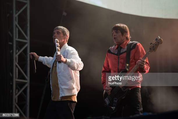 Ian Brown and Mani of the British iconic rock band The Stone Roses perform on stage at Wembley Stadium London on June 17 2017 The band consists in...