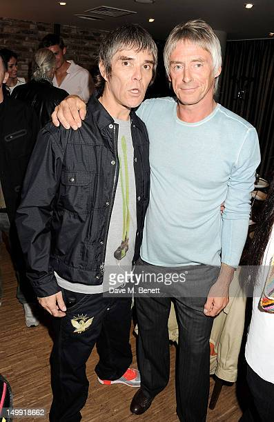 Ian Brown and Paul Weller attend as The Stone Roses perform a secret gig at adidas Underground on August 6 2012 in London England