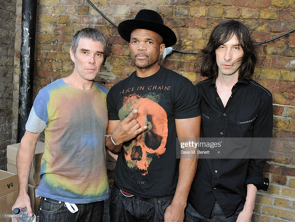 <a gi-track='captionPersonalityLinkClicked' href=/galleries/search?phrase=Ian+Brown&family=editorial&specificpeople=210705 ng-click='$event.stopPropagation()'>Ian Brown</a>, Darryl 'DMC' McDaniels and <a gi-track='captionPersonalityLinkClicked' href=/galleries/search?phrase=Bobby+Gillespie&family=editorial&specificpeople=572876 ng-click='$event.stopPropagation()'>Bobby Gillespie</a> attend the launch of the adidas #Spezial exhibtion, showcasing 600 pairs of adidas trainers, at Hoxton Gallery on July 18, 2013 in London, England.